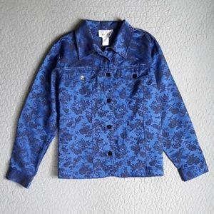 Susan Graver Blue jacket w/black floral design med